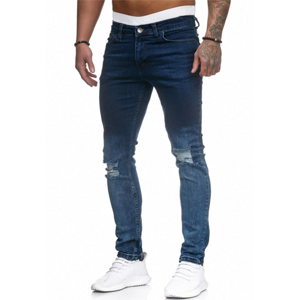 High Quality Jeans Men's Gradient Hole Denim Pencil Pants 2019 New Men Skinny Jeans Washed Ripped Black Stretch Trousers D25