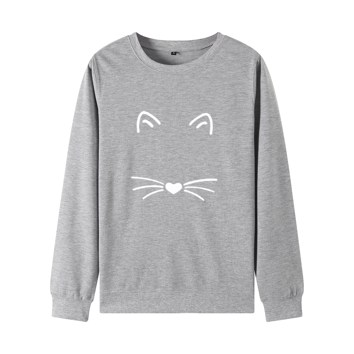 Women's Loose Round Neck Long Sleeve Cat Sweatshirt Jacket 2020