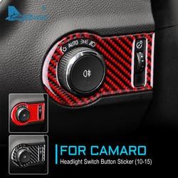 Airspeed fibra de carbono para chevrolet camaro 2010-2015 acessórios botão interruptor do farol guarnição interior para camaro adesivo capa