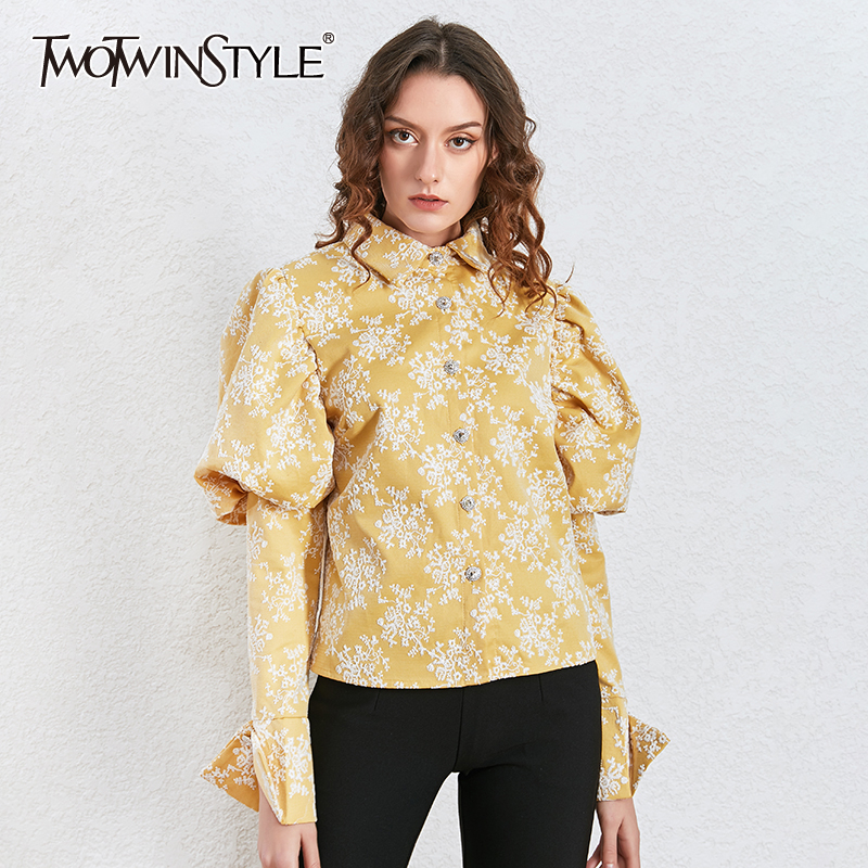 TWOTWINSTYLE Embroidery Hit Color Women Blouses Lapel Collar Puff Long Sleeve Hit Color Shirts Female 2020 Fashion Clothing Tide