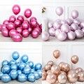 Новинка, глянцевые металлические жемчужные латексные воздушные шары розового и золотого цвета, 30 шт./компл., 10 дюймов, плотные Хромированные...