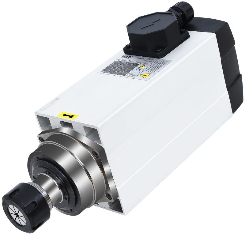 Kwadratowa tuleja zaciskowa 6 kW AC380V ER32 18000 obr./min chłodzony powietrzem silnik wrzeciona do drewnianego routera cnc