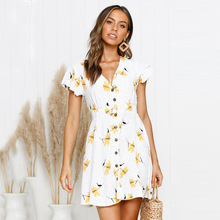GUMNHU 2019 Summer Women Floral Print Dress V Neck Ruffle Sleeve Button elegant Dresses Casual Beach Short vestidos