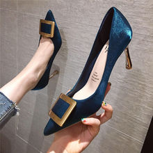 Cresfimix Women Fashion Sweet Navy Blue Comfort Spring High Heels for Office Lad
