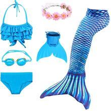 Mädchen Schwimmen Meerjungfrau Schwänze Kostüm Kinder Meerjungfrau Badeanzug Bikini Set Kinder Mädchen Badeanzug Einfach Hinzufügen In Monofin Fin