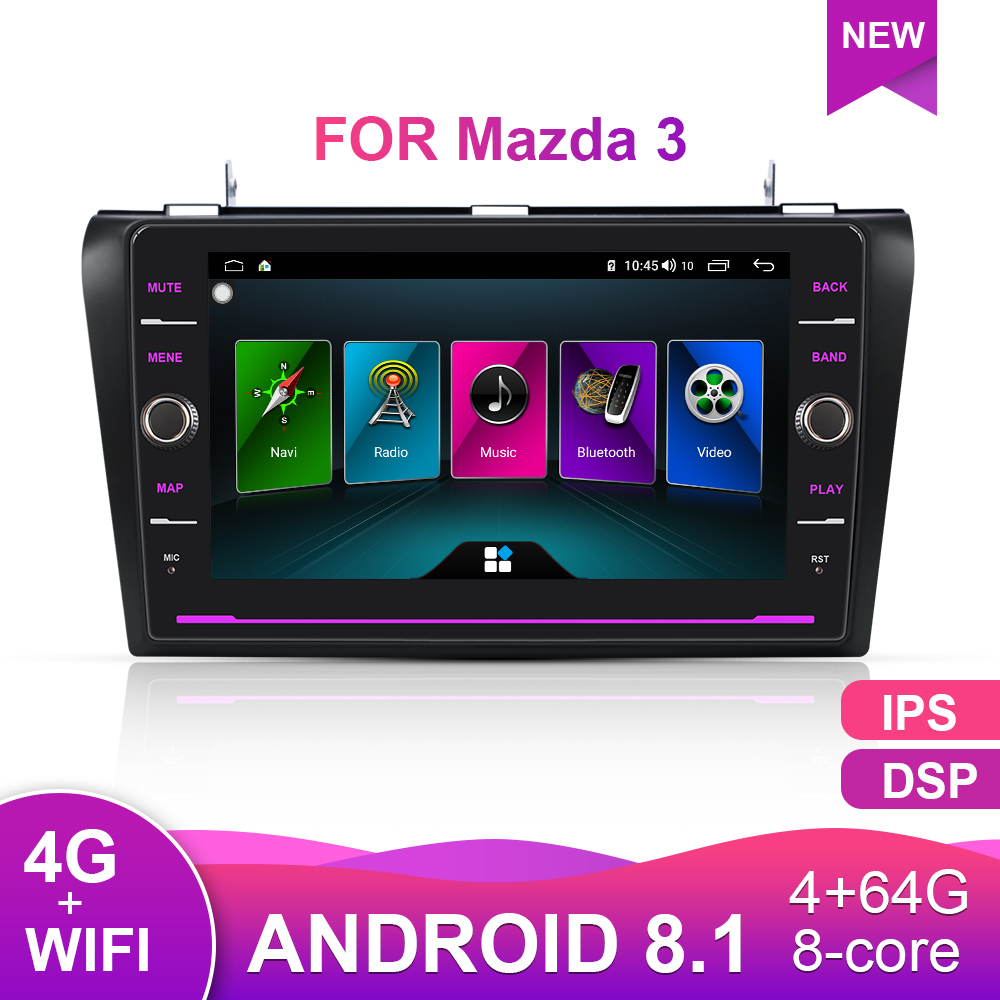 Car Multimedia Radio Player For <font><b>Mazda</b></font> <font><b>3</b></font> BK 2004-2009 Tape Recorder 2Din Android 8.1 Autoradio <font><b>GPS</b></font> <font><b>Navigation</b></font> 4G RDS IPS image