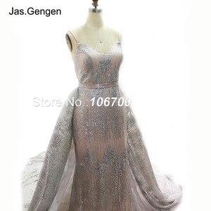 Image 5 - ローブ · ド · 夜会二枚グリッターイブニングドレスウェディングドレス取り外し可能な上ロング列車のスカートブライダルウエディングドレス新