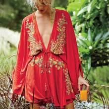 Богемное платье, сексуальное платье, летнее пляжное стильное хлопковое вышитое платье с глубоким v-образным вырезом и завязками на талии, мини женская брендовая одежда с рукавом до локтя
