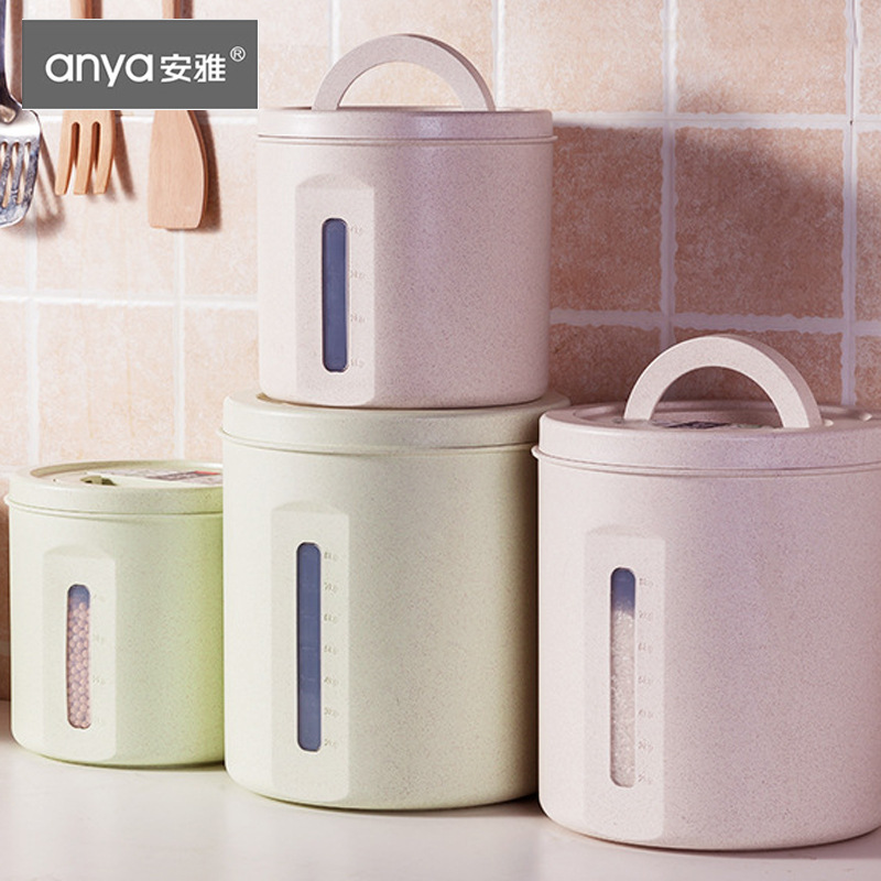 Household Rice Bucket Valley Fiber Rice Jar Moisture-Proof Sealed Jar Grains Cereal Container Rice Storage Box Flour Box 5kg20 L