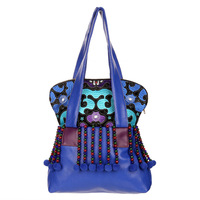 Newest Classic PU leather women handbags ethnic embroideried shoulder bags blue women bags
