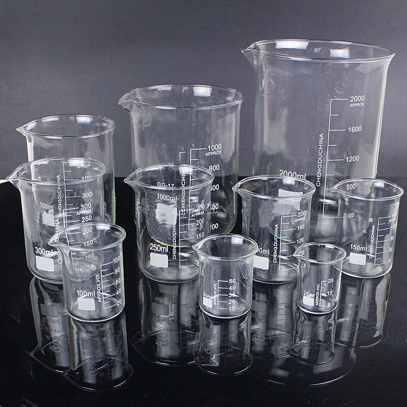 5 pçs/set 25 ml/50 ml/100 ml/150 ml/500 ml Copo De Vidro Copo de Química Experimento de Laboratório Para Equipamentos de Laboratório Da Escola