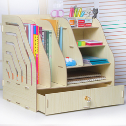 DIY Wooden Document Tray Desktop Multifunction A4 Data Storage Box Pen Pencil File Holder Office Desk Organizer School Supplies