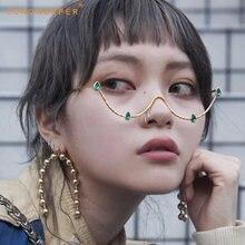 Модные женские роскошные очки с бриллиантами в фоторамке модель