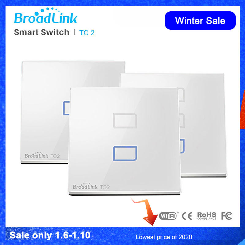 Broadlink TC2 EU WiFi Switch EU Standard Wall Light Lamp Switch Wireless Control Via RM Pro RM Mini3 Via App Control Smartphone