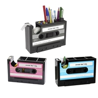 HOT Creative Adhesive Tape Pen Holder Case, Retro Cassette Tape Dispenser Vase Brush Pot, Popular Pencil Desk Collection Tidy Or