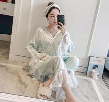 цена на Patchwork Lace Fashion Woman Cotton Blending Kimono Pajamas Loose Long Sleeve Trousers Set Sleepwear