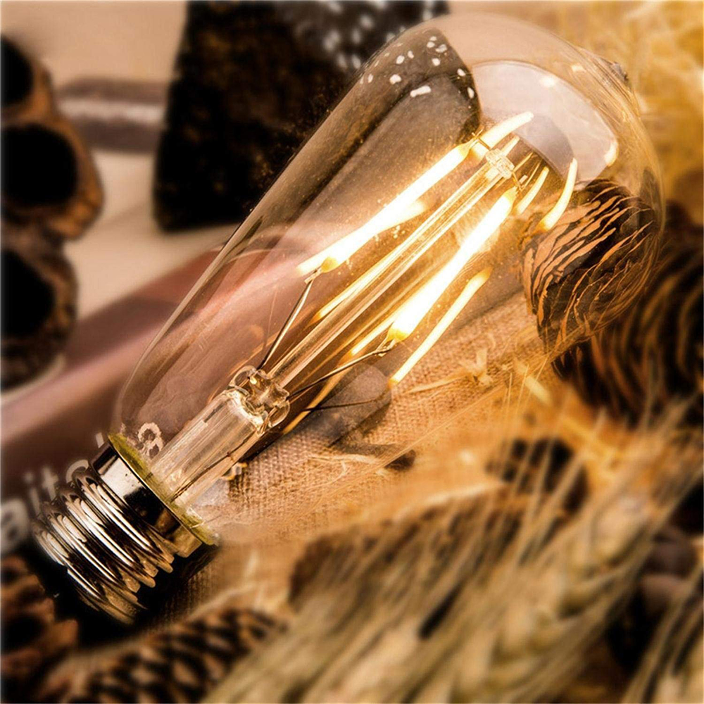 Купить с кэшбэком Edison LED Bulbs ST64 4W 6W 8W LED Filament Vintage Antique Retro lights AC220V Amber Gold Tint/white For Indoor Home Lighting