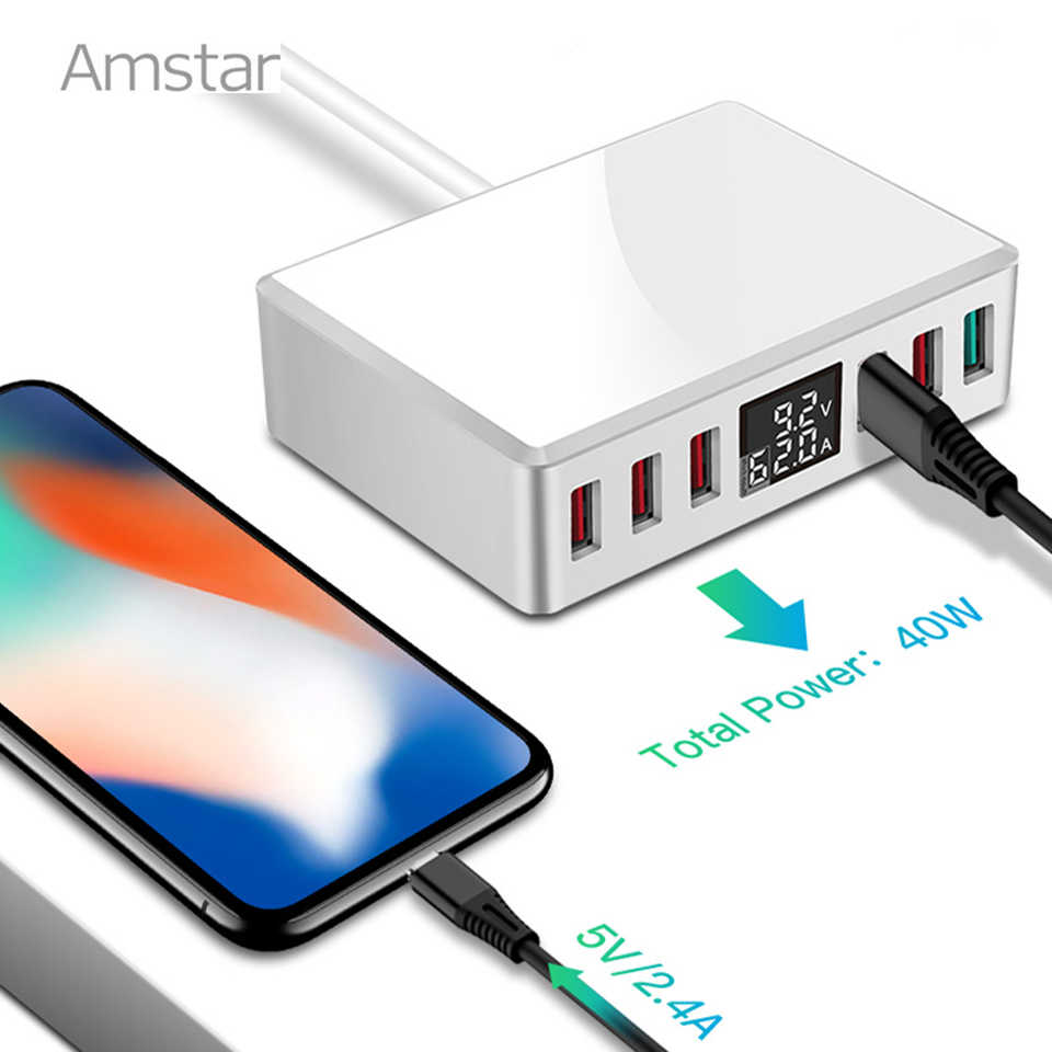 Amstar USB Ladegerät Schnell Ladung 3,0 40W Led Display QC3.0 Telefon Ladegerät USB Adapter für iPhone Samsung Huawei Xiaomi schnelle Ladung