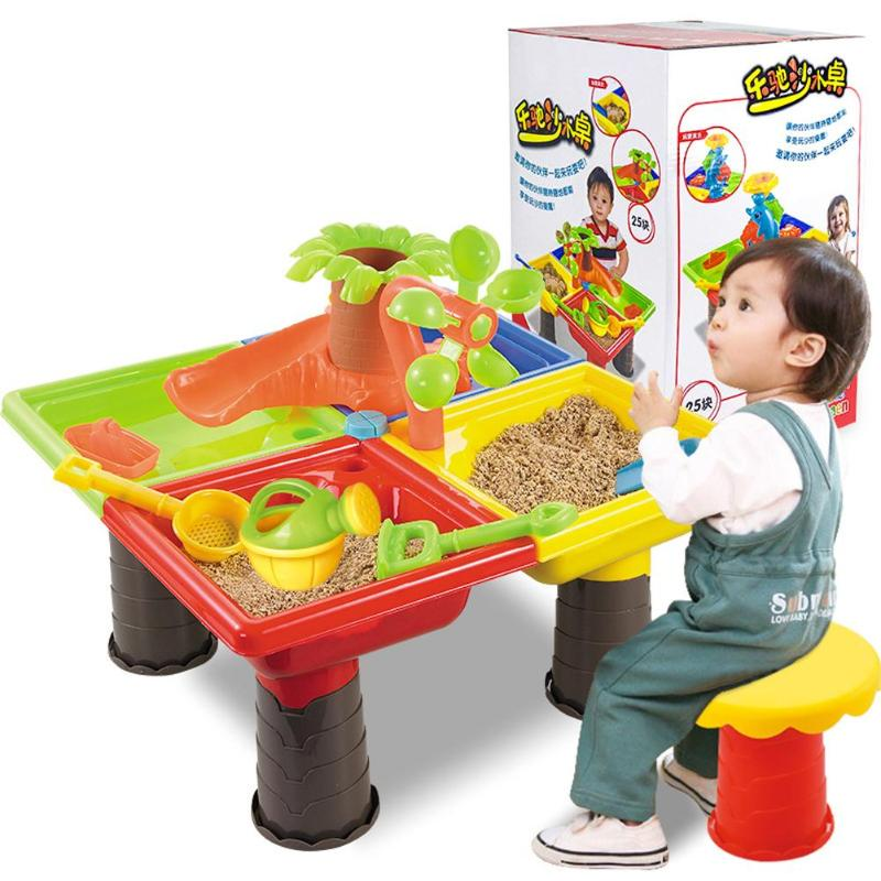 Kids Beach Sandpit Toy Summer Outdoor Sand Bucket Water Wheel Table Play Set Toys Children Learning Education Toy Baby Birthday
