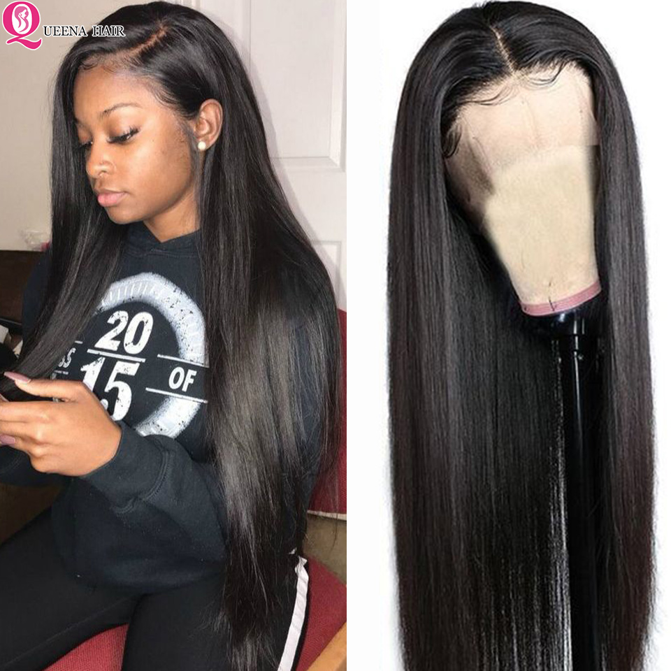 360 Lace Front Human Hair Wigs For Black Women Transparent Peruvian Straight Lace Front Wig Pre Plucked Remy 13x6 Glueless Wigs