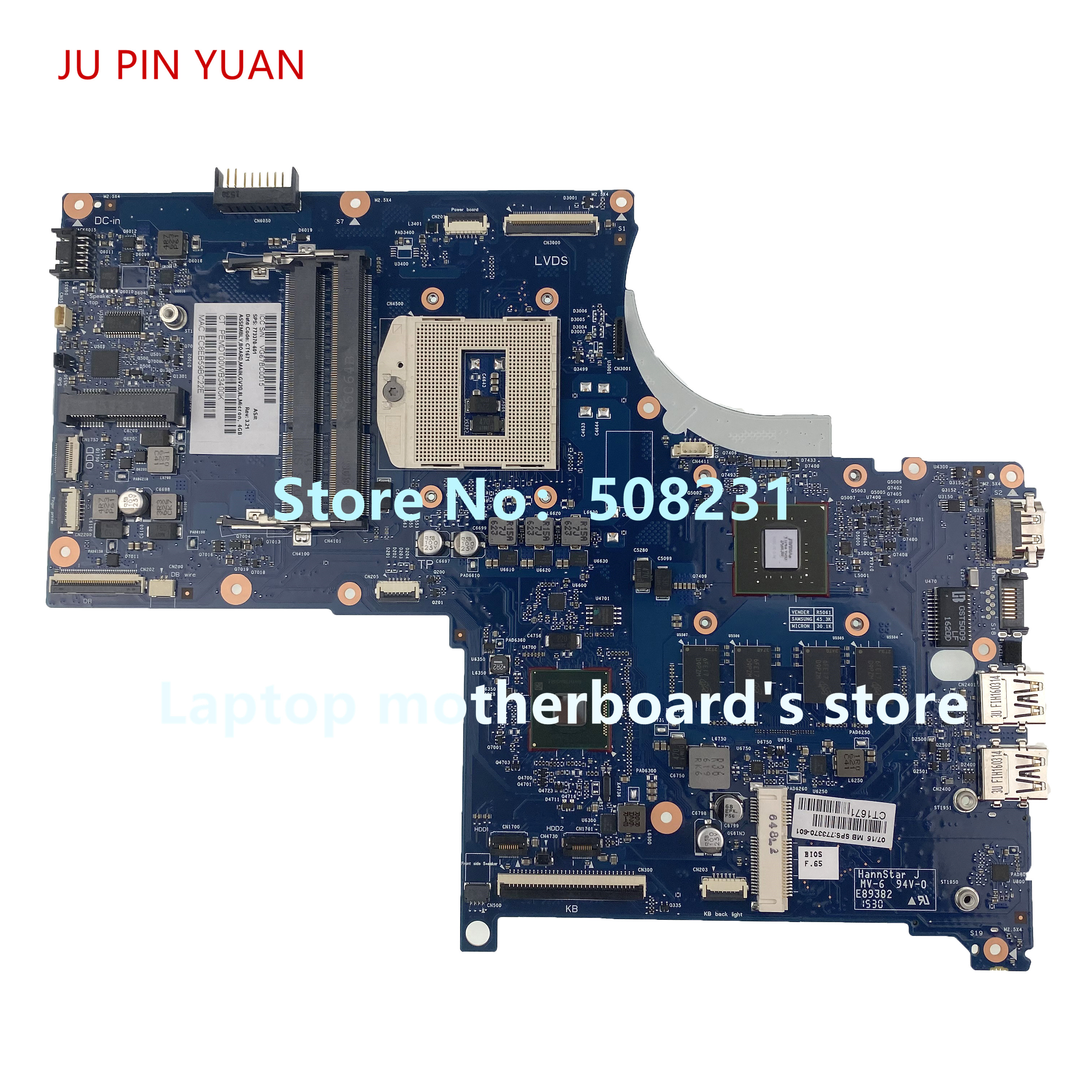 JU PIN YUAN 773370-001 For HP ENVY TOUCHSMART 17-J Laptop Motherboard With HM87 840M/2G 100% Fully Tested