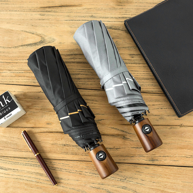 Fully Automatic Business Men Umbrella Reinforced Wind-Resistant Cool Trend Creative Simple Advertising Umbrella Logo Customizabl