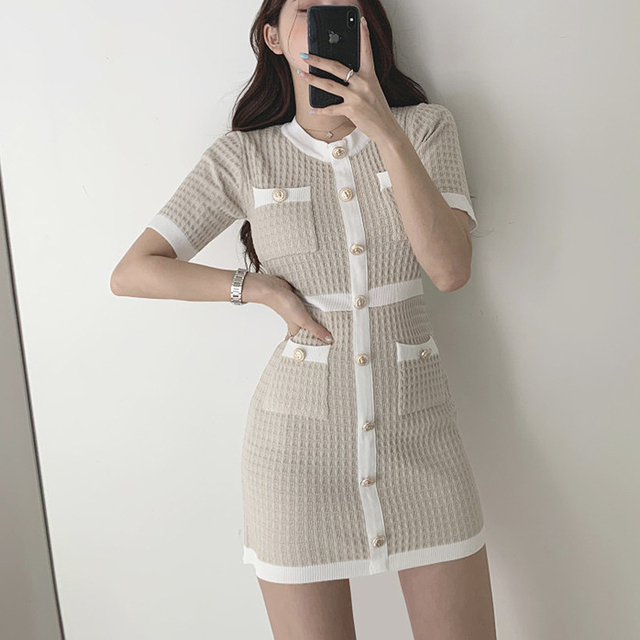Button Knitted Dress Bodycon Mini Vestido club Korean Summer Sexy Party Elegant Black 2020 Casual Sweater Dress Robes Clothes 2