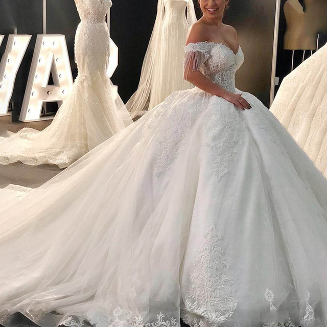 Luxury Beaded Lace Wedding Dresses Gorgeous Off Shoulder Tulle Bridal Wedding Gowns Sweetheart Princess Bridal Dress 2020 4