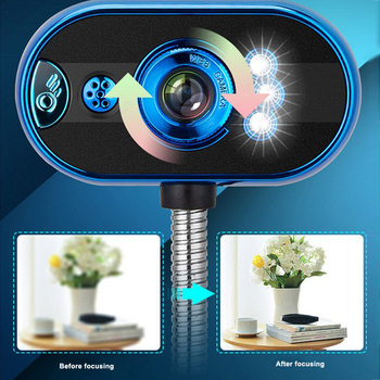 Desktop Computer Camera USB Free Drive HD Night Vision Rotatable Flexible Notebook Home Video LED Lights with Microphone