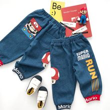 Tonytaobaby Autumn and Winter New Boys and Girls Cartoon Thread Splicing Jeans Pants