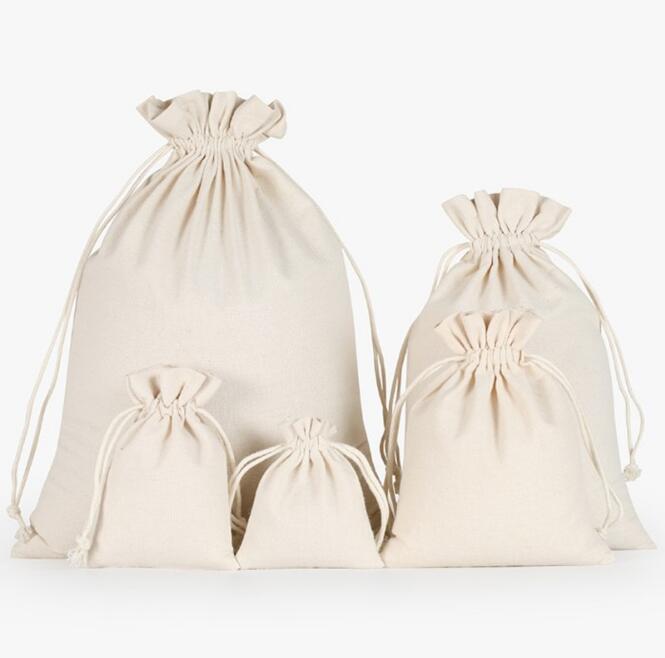 PK-011 Wholesale Custom Print Organic Customized Muslin Pouch Cotton Drawstring Bag Small Linen Jewelry Bag