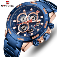 NAVIFORCE Men Watch Top Brand Luxury Quartz Men's Watches Full Steel Chronograph Watch Waterproof Male Clock Relogio Masculino
