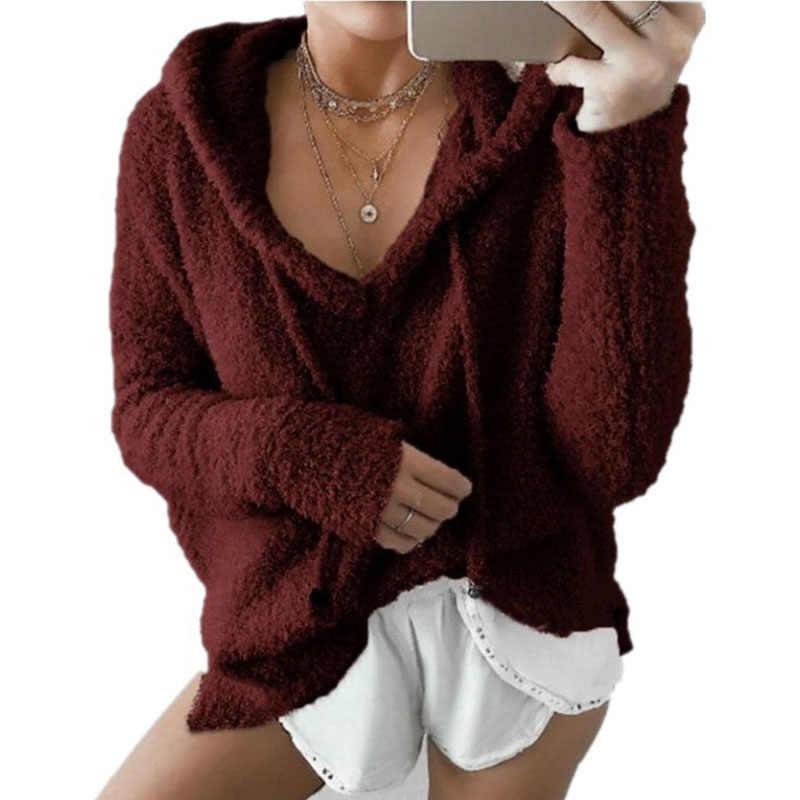 ฤดูใบไม้ร่วงผู้หญิง Casual Mohair Hooded Pullovers V คอขนแกะเสื้อแฟชั่นหวานหลวม WARM ฤดูหนาว Mohair Tops Pullover