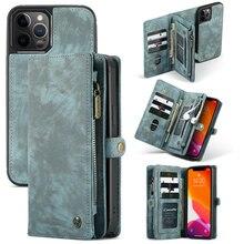 CaseMe skórzane etui dla iPhone Xs Xr Xs Max odpinany 2 w 1 zamek błyskawiczny karty kredytowej torebka etui na iPhone X 7 8 Plus 6 6 s Plus torba