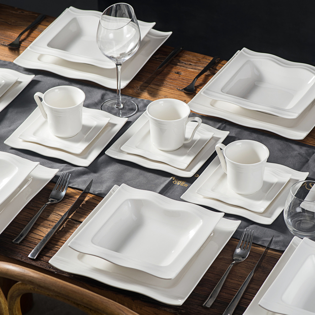 MALACASA Mario 60-Piece Porcelain Dinner Tableware Set with 12*Cups,Saucers,Dinner Soup Dessert Plates Set Service for 12 Person 6