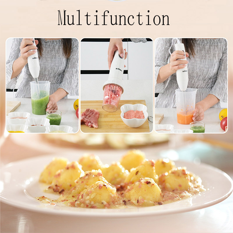 4-in-1 Stainless Steel Immersion Hand Stick Blender Mixer Vegetable Meat Grinder 500ml Chopper Whisk 800ml Smoothie Cup 6