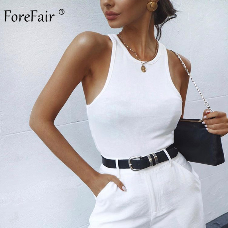 Forefair Ribbed Tank Summer Tops Woman Knitted Cotton Vest Club Streetstyle Basic Solid Black White Bodycon Sexy Crop Top Women