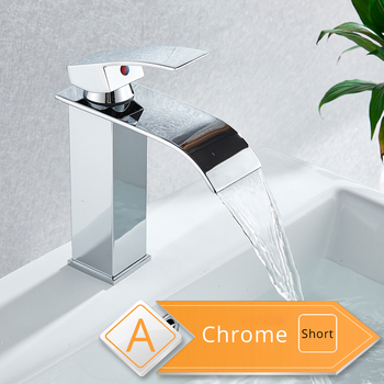 Rozin Waterfall Bathroom Sink Faucet Deck Mount Hot Cold Water Basin Mixer Taps Polished Chrome Lavatory Sink Tap 14