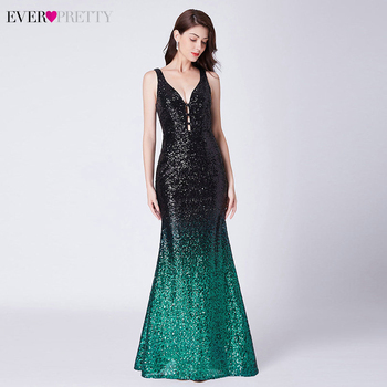Sexy Sequined Evening Dresses Long Ever Pretty Double V-Neck Sleeveless Draped Sparkle Mermaid Gowns Robe Longue 2020 - discount item  45% OFF Special Occasion Dresses