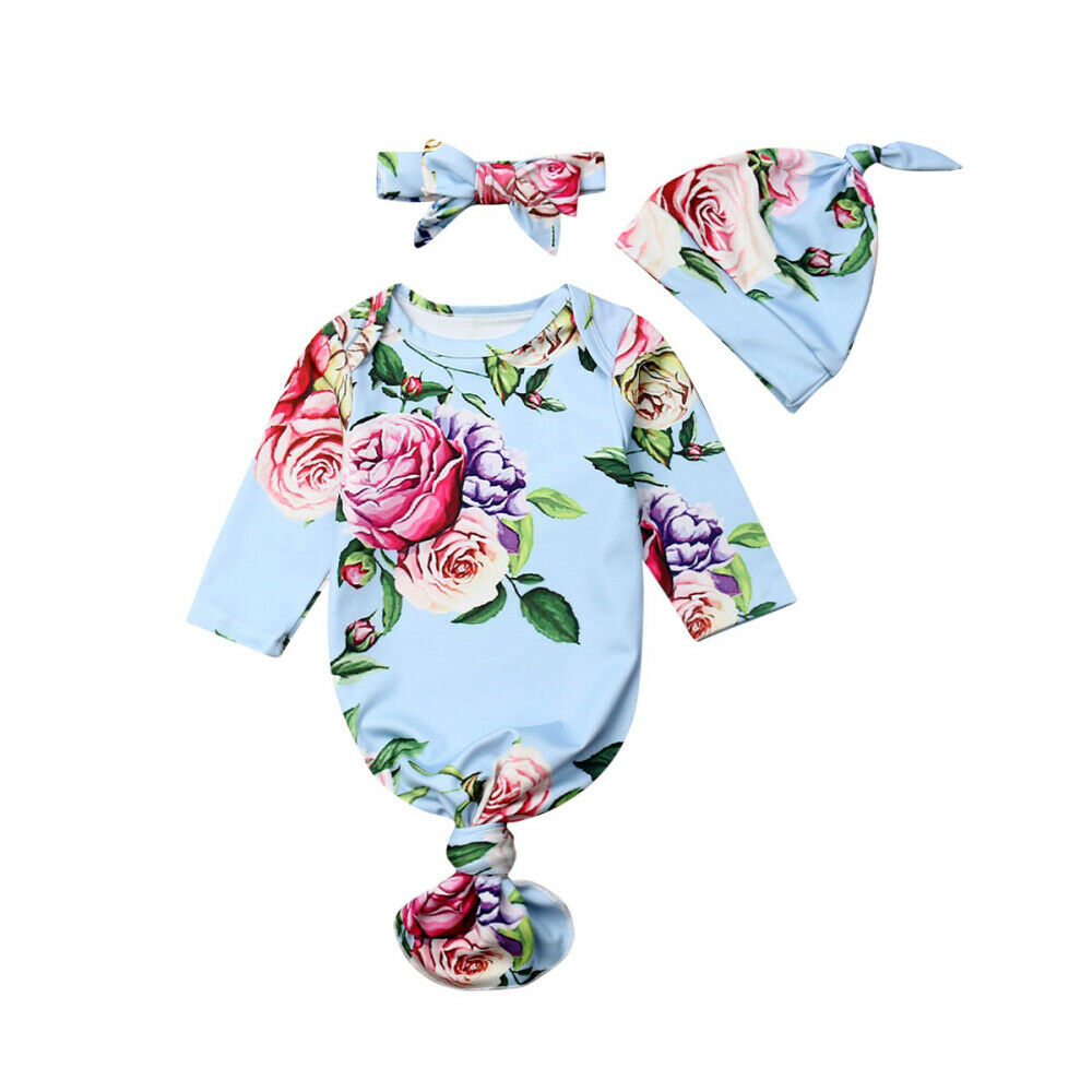 Newborn Baby Boys Girls Floral Knotted Sleeper Gown Infant Romper 3Pcs Set Home Outfit Clothes With Headband