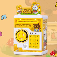 Hucha electrónica de dibujos animados para niños, caja de dinero con contraseña ATM, depósito automático de billetes, caja para ahorrar monedas