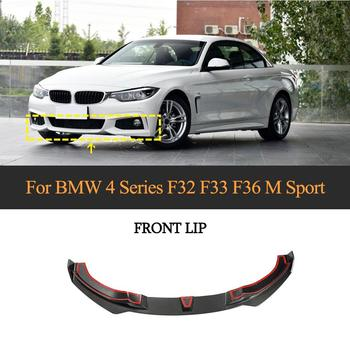 For F32 Front Bumper Lip Spoiler for BMW 4 Series F32 M Sport 435i 2014 - 2019 Car Front Bumper Lip Spoiler Apron Carbon Fiber image