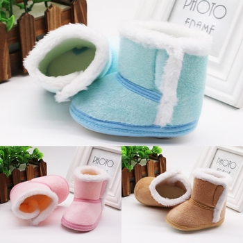 DOGEEK Winter Baby Boys Girls Shoes First Walker Winter Infants Warm Shoes Faux Fur Girls Baby Booties Leather Boy Baby Boots 1