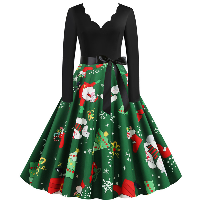 S-3XL Sexy V-neck Women Christmas Dress Long Sleeve Santa Print New Year Robes Vintage Pinup Rockabilly Winter Dresses Vestidos