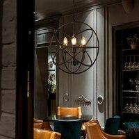 Black sphere chandelier Bar Kitchen Dining room round ball chandelier Vintage Industrial Lustre rustic wrought iron chandelier
