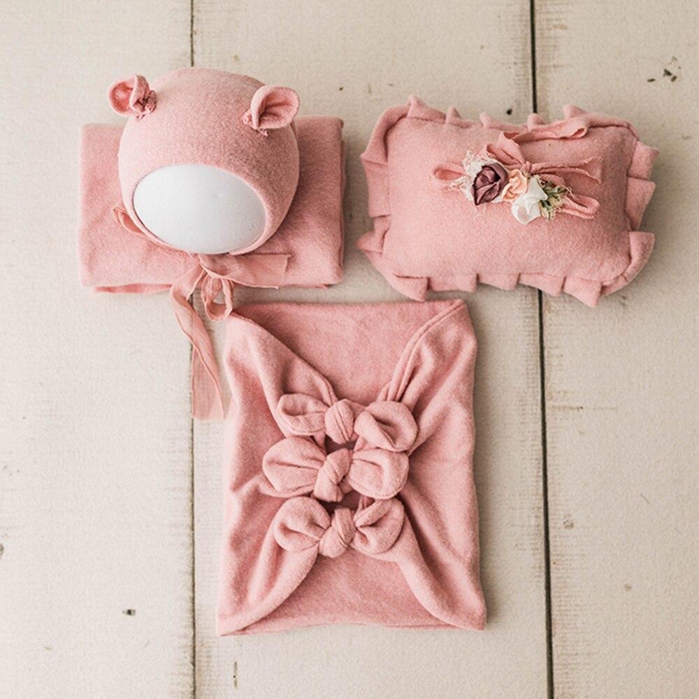 Envolturas elásticas para sesión de fotos de bebé niña para accesorios de fotografía recién nacido con diadema conjunto manta para fotos sombrero accesorios para sesión de fotos