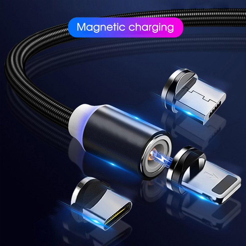 Magnetic Charger Micro USB Typc C Mobile Phone Cable For iPhone For Samsung Quick Charge Magnet Android Type C Cable For Xiaomi