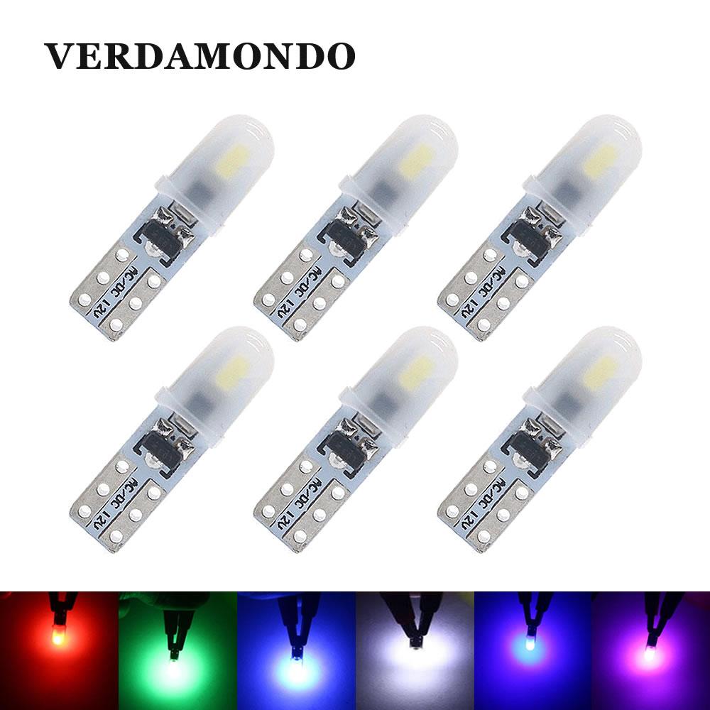 6 шт T5 2 SMD 3014 приборной панели автомобиля светодиодный лампы, работающего на постоянном токе 12 В в номерной знак светильник без полярности за...
