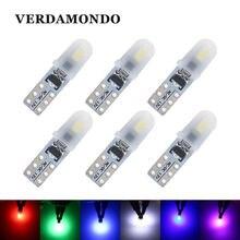 6 pces t5 2 smd 3014 dashboard carro lâmpadas led 12v dc luz da placa de licença sem polaridade lâmpada cauda amarelo azul rosa