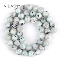 Natural Green Spot Stone Beads Round Loose Beads For Jewelry Making Diy Bracelet Necklace Spacer Perles 4mm-12mm 15'' Wholesale цена
